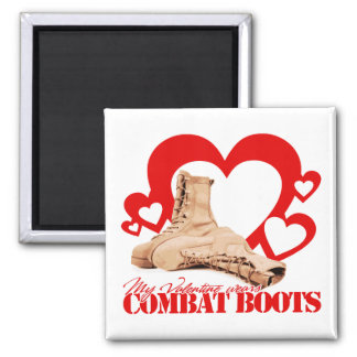 My Valentine Wears Combat Boots 2 Inch Square Magnet