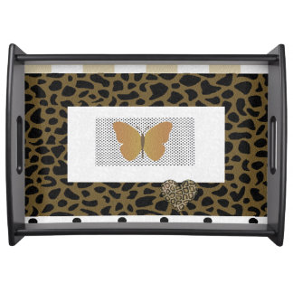 """My Vanity "" Butterfly/Gold Vanity Serving Tray"
