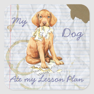 My Vizsla Ate my Lesson Plan Square Sticker