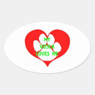 my vizsla loves me.png oval sticker