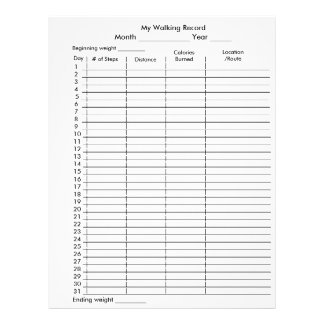 My Walking Record Step Pedometer Chart Flyer