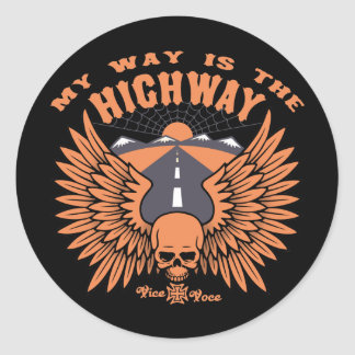 My Way Highway Classic Round Sticker