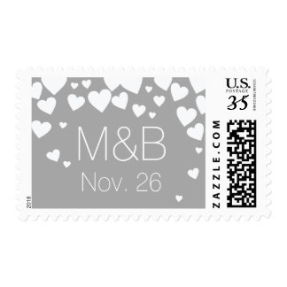 my wedding elegant love hearts on gray postage