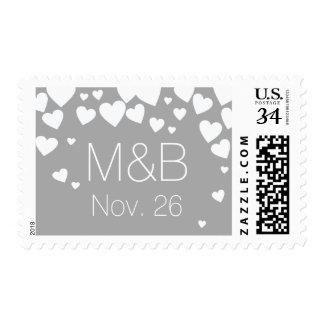 my wedding elegant love hearts on gray postage