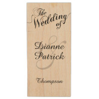 my wedding photos, monogram wood flash drive