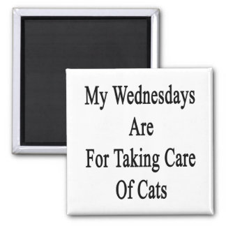My Wednesdays Are For Taking Care Of Cats 2 Inch Square Magnet