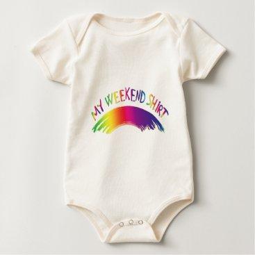 "Beach Themed ""My Weekend Shirt"" with Rainbow Baby Bodysuit"