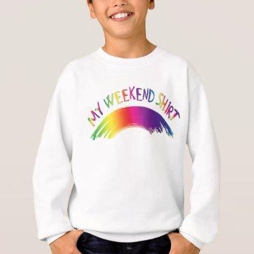 "Beach Themed ""My Weekend Shirt"" with Rainbow Sweatshirt"
