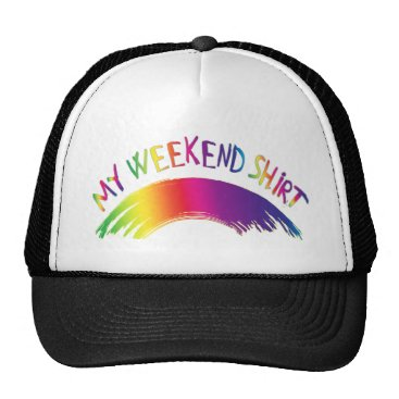 "Beach Themed ""My Weekend Shirt"" with Rainbow Trucker Hat"