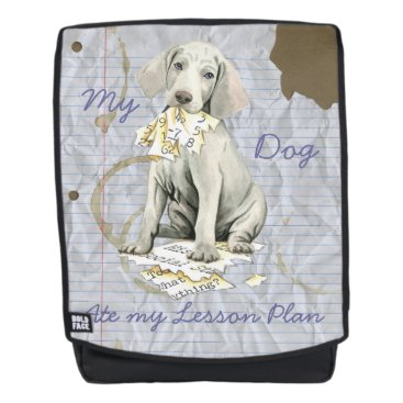 Aztec Themed My Weimaraner Ate my Lesson Plan Backpack