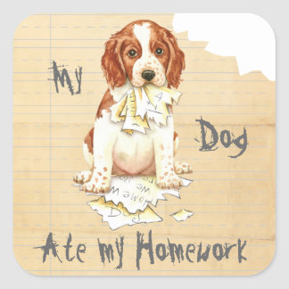 My Welsh Springer Ate My Homework Square Sticker