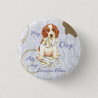 My Welsh Springer Ate My Lesson Plan Pinback Button