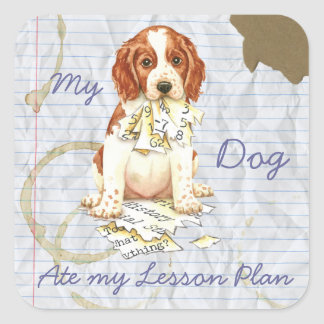 My Welsh Springer Ate My Lesson Plan Square Sticker