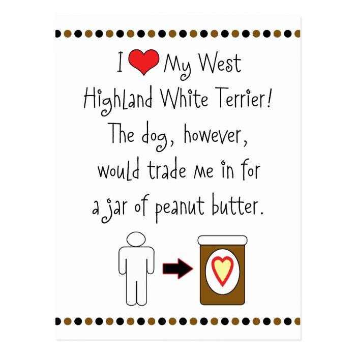 My West Highland White Terrier Loves Peanut Butter Postcard
