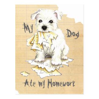 My Westie Ate My Homework Postcard