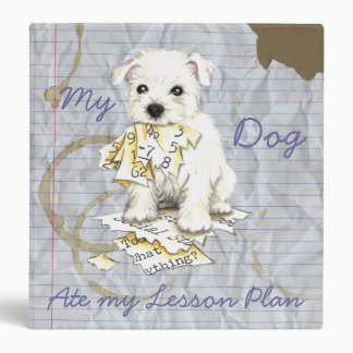 My Westie Ate My Lesson Plan 3 Ring Binder