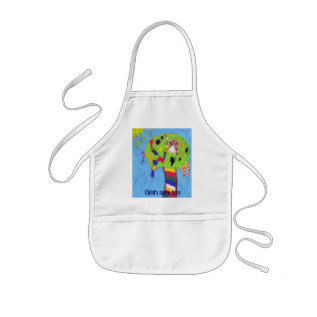 My White Cat In A Candy Tree Apron at Zazzle