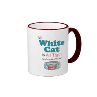 My White Cat is All That! Funny Kitty Mugs