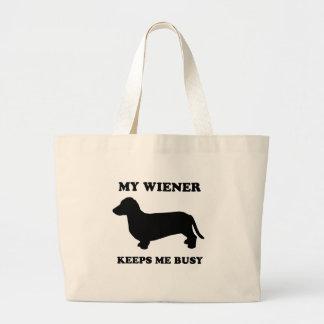 My wiener keeps me busy jumbo tote bag
