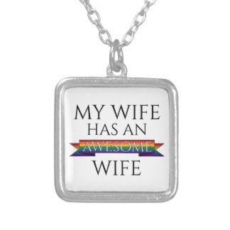 My Wife Has an Awesome Wife Square Pendant Necklace