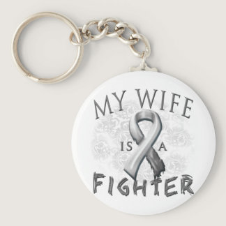 My Wife Is A Fighter Grey Keychain
