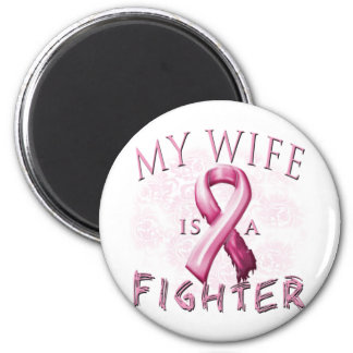 My Wife is a Fighter Pink 2 Inch Round Magnet