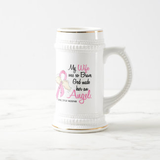 My Wife Is An Angel 2 Breast Cancer Beer Stein