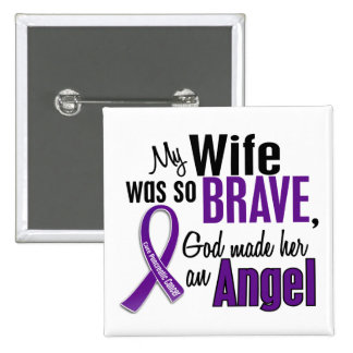 My Wife Is An Angel Pancreatic Cancer Pinback Buttons