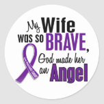 My Wife Is An Angel Pancreatic Cancer Round Sticker