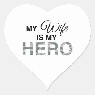 My Wife is my Hero Digital Camouflage Heart Sticker