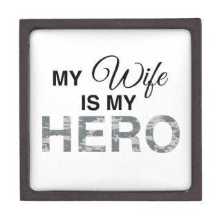My Wife is my Hero Digital Camouflage Premium Jewelry Boxes