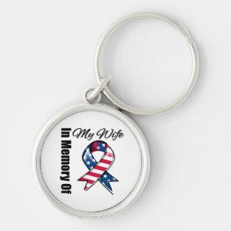 My Wife Memorial Patriotic Ribbon Keychain