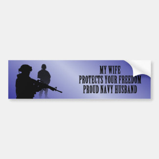My Wife Protects Your Freedom (Navy Husband) Car Bumper Sticker