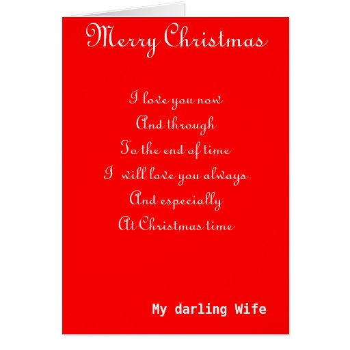 My Wife Romantic Christmas Greeting Cards Zazzle