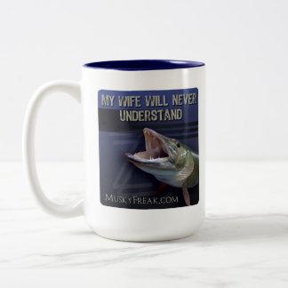 My Wife will Never Understand, Musky Fishing Two-Tone Coffee Mug