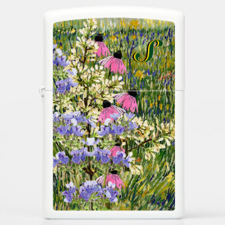 My Wildflowers in Van Gogh's Meadow - Monogrammed Zippo Lighter