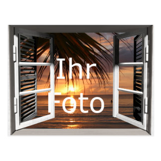 My window view landscape format postcard