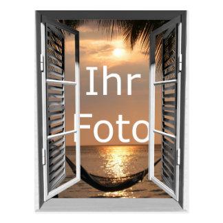 My window view portrait format postcard