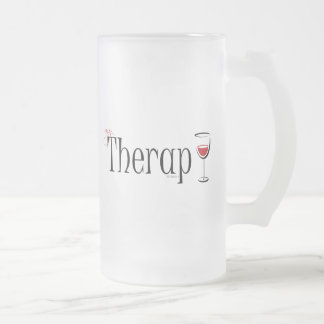 My (Wine) Therapy Frosted Glass Beer Mug