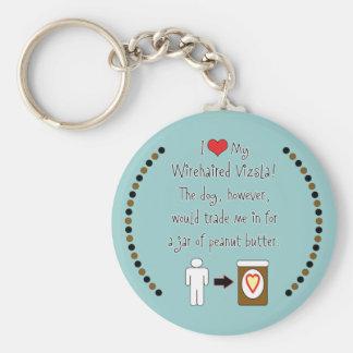 My Wirehaired Vizsla Loves Peanut Butter Keychain