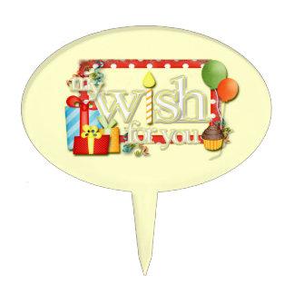 My Wish For You Word Art Girl Birthday Cake Picks