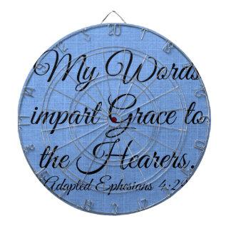 my words impart grace dartboard with darts