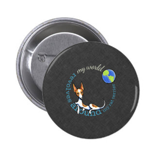 My World Red Rat Terrier Coal Button