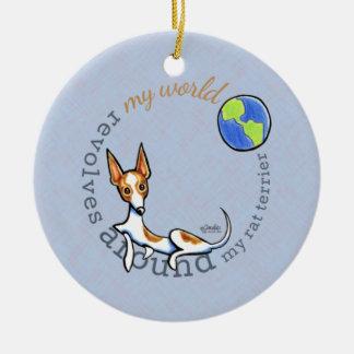 My World Red White Rat Terrier Ceramic Ornament