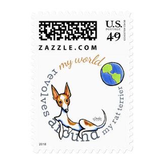 My World Red White Rat Terrier Postage Stamp