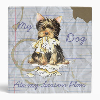 My Yorkie Ate my Lesson Plan 3 Ring Binder