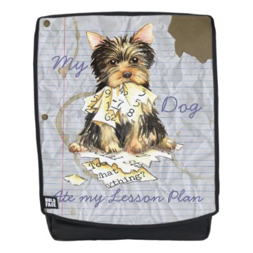 Beach Themed My Yorkie Ate my Lesson Plan Backpack