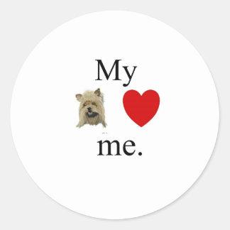 My yorky loves me round sticker