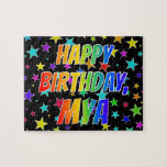"[ Thumbnail: ""Mya"" First Name, Fun ""Happy Birthday"" Jigsaw Puzzle ]"
