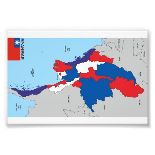 Myanmar country political map shape flag photo art